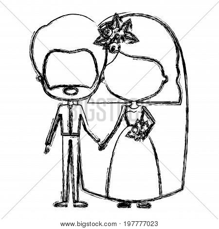 monochrome blurred silhouette of caricature faceless newly married couple groom with formal wear and bride with wavy short hairstyle vector illustration