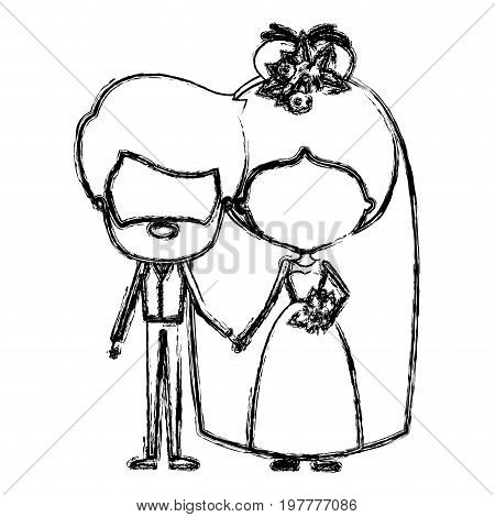 monochrome blurred silhouette of caricature faceless newly married couple bearded groom with formal wear and bride with bun hairstyle vector illustration