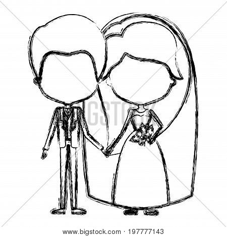 monochrome blurred silhouette of caricature faceless newly married couple groom with formal wear and bride with long hairstyle vector illustration