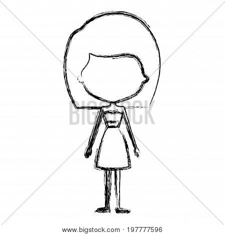 monochrome blurred silhouette caricature of skinny faceless woman in clothes with medium straight hairstyle vector illustration