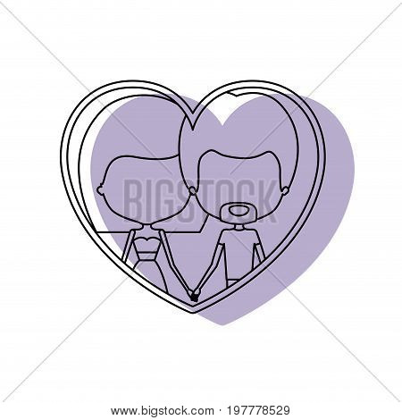 silhouette heart shape lilac shadow with contour faceless couple van dyke beard man and woman straight medium hairstyle inside holding hands vector illustration