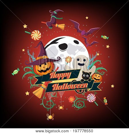 Flat Halloween Icon and Halloween Character and element design Badge, Halloween Background, Vector Illustration, Trick or Treat Concept, Pumpkin and Spider Web, Witch Hat, Broom, Candy, Bat and Cat