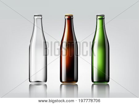 Transparent glass bottle, brown bottle and green bottle for design package and advertisement, beer and beverage,Vector