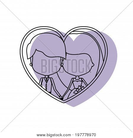 silhouette heart shape lilac shadow with contour faceless newly married couple inside of newly married couple young groom with formal wear and bride with long hairstyle and holdings hands vector illustration