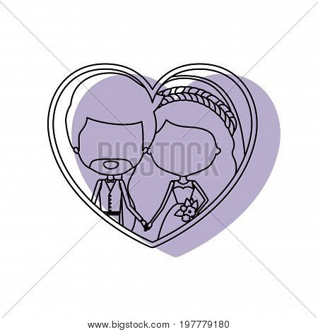 silhouette heart shape lilac shadow with contour faceless newly married couple inside of newly married couple bearded groom with formal wear and bride with wavy long hairstyle and holdings hands vector illustration