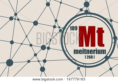 Meitnerium chemical element. Sign with atomic number and atomic weight. Chemical element of periodic table. Molecule And Communication Background. Connected lines with dots.