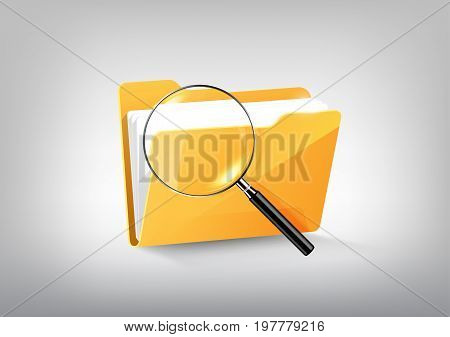Yellow document file folder directory icon isolated and magnified glass on white grey, vector illustration
