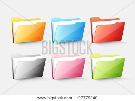 Set of colorful document file folder directory icon isolated on white grey, transparent vector