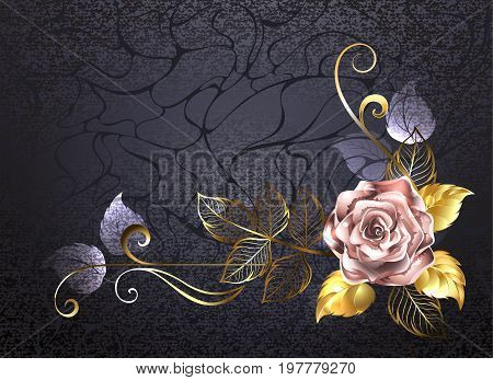 Sparkling rose of pink gold decorated with gold leaves on a black textured background. Pink gold. Design with roses.