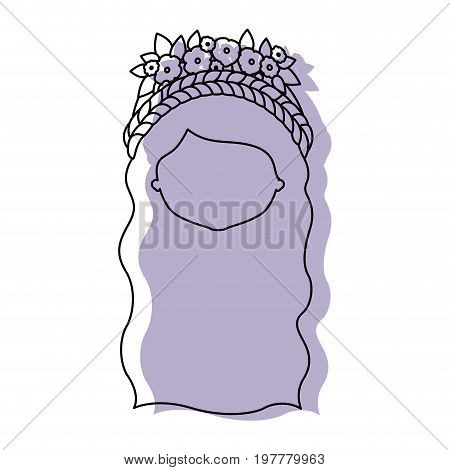 silhouette lilac color shadow of contour caricature closeup front view faceless woman with wavy long hairstyle and braid crown decorate with flowers vector illustration