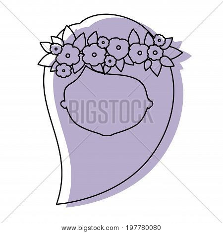 silhouette lilac color shadow of contour caricature closeup front view faceless woman with long side hairstyle and crown decorate with flowers vector illustration