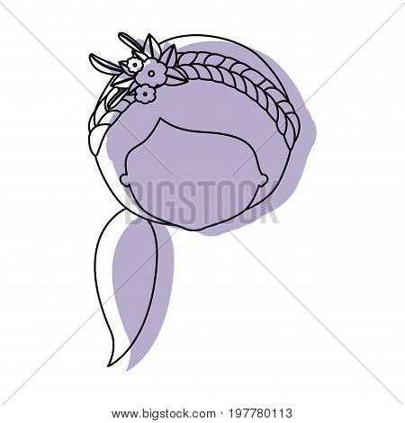 silhouette lilac color shadow of contour caricature closeup front view faceless woman with side ponytail hairstyle and braid crown decorate with flowers vector illustration