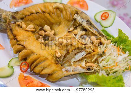 Deep Fried Sea Bass with Sauce on white dishThai food.