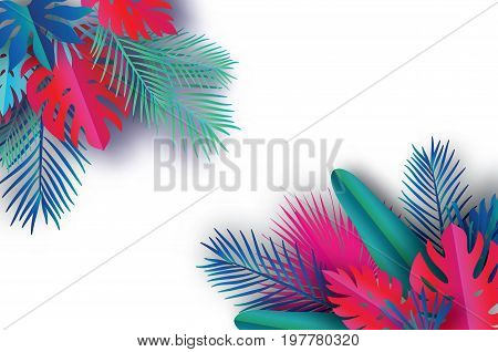 Trendy Summer Template banner. Paper art Tropical palm leaves, plants. Exotic. Hawaiian. Space for text. Colorful jungle floral background. Monstera. Vector illustration