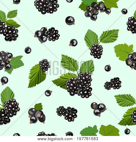Vector pattern with a forest blackberry and a home-berry of black currant. Sweet and sour berries. Perfect for wallpapers, page backgrounds, surface textures, textile, packaging for natural food.
