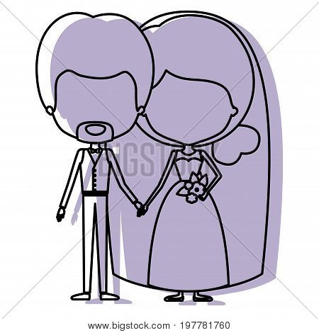 silhouette lilac color shadow of contour caricature faceless newly married couple in wedding suits vector illustration