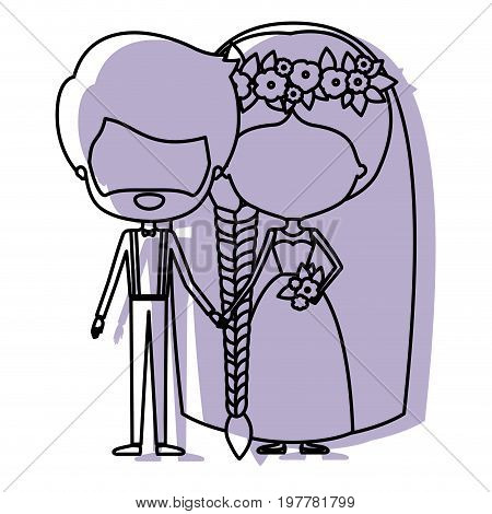 silhouette lilac color shadow of contour caricature faceless newly married couple groom with formal wear and bride with braids hairstyle vector illustration