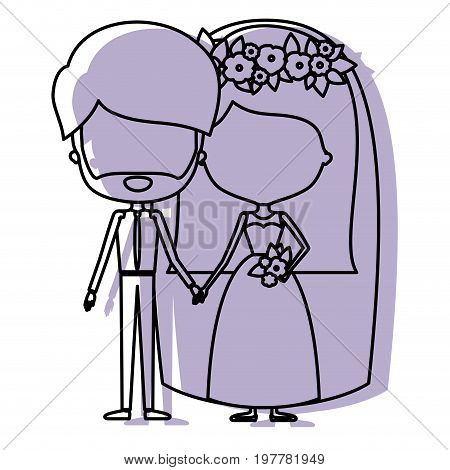 silhouette lilac color shadow of contour caricature faceless newly married couple bearded groom with formal wear and bride with straight medium hairstyle vector illustration