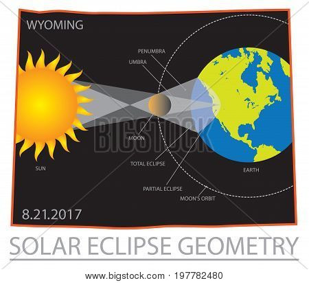2017 Solar Eclipse Geometry Totality across Wyoming State map color vector illustration