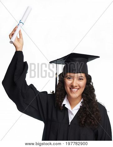 Happy graduate hispanic girl student isolated on white background