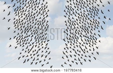 Divided opinion and social division or divided crowd thinking concept as two groups of birds flying in oppositte directions in a 3D illustration style.
