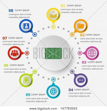 Infographic template with mail icons, stock vector