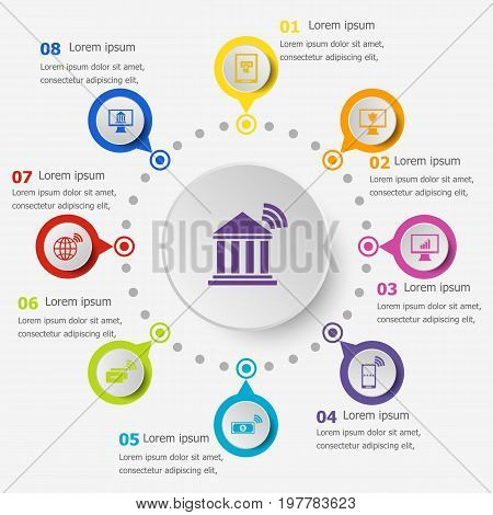 Infographic template with online banking icons, stock vector