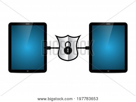 technology digital future abstract cyber security concept background tablet connect with wire and lock shield between vector illustration.