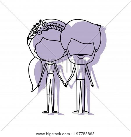 watercolor silhouette of faceless caricature couple standing and him with beard and her with pants and ponytail hairstyle and floral crown accesory vector illustration