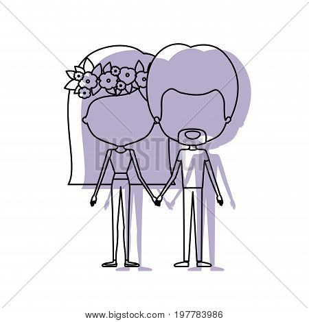 watercolor silhouette of faceless caricature couple standing and her with medium straight hair and floral crown accesory and him with van dyke beard vector illustration