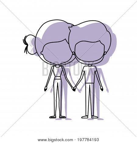 watercolor silhouette of faceless caricature couple standing and both with pants and her with bun hair and him with beard vector illustration