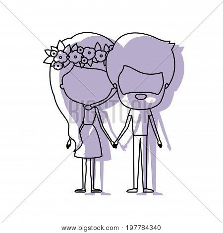 watercolor silhouette of faceless caricature couple standing and her in dress with long hair with floral crown and him with beard vector illustration