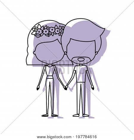 watercolor silhouette of faceless caricature couple standing and both with pants and her with short hair and floral crown and him with van dyke beard vector illustration