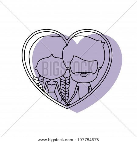 watercolor silhouette heart shape portrait with caricature faceless couple and him with short brown hair and beard and her with dress and double braids hairstyle vector illustration