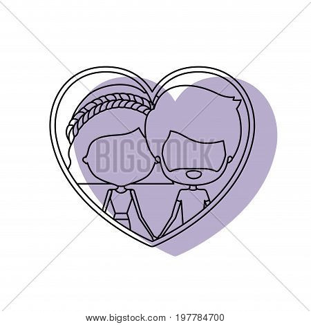 watercolor silhouette heart shape portrait with caricature faceless couple and him with short hair and beard and her with pants and wavy short hairstyle vector illustration