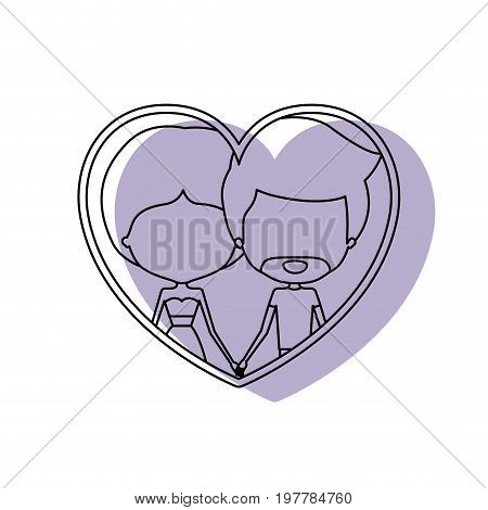 watercolor silhouette heart shape portrait with caricature faceless couple and him with short hair and beard and her with dress and bun hairstyle vector illustration
