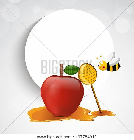illustration of bee, honey, apple, moon on the occasion of Jewish New Year Shanah Tovah