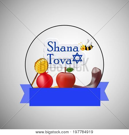 illustration of bee, honey, apple, pomegranate, shofar with shana tova text on the occasion of Jewish New Year Shanah Tovah