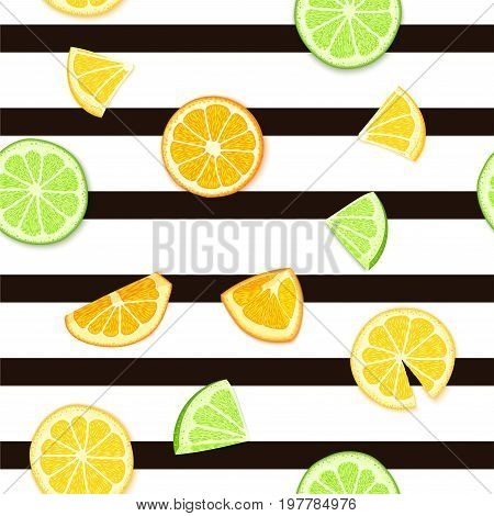 Ripe juicy tropical fruit striped seamless background. Vector card illustration. Fresh citrus lime orange lemon fruit on black lines. Seamless pattern for packaging design healthy food juce detox diet.