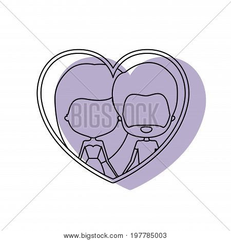 watercolor silhouette heart shape portrait with caricature faceless couple and her with dress and long hair and him with beard vector illustration