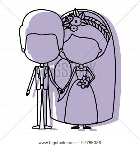 watercolor silhouette with caricature faceless newly married couple groom with formal wear and bride with ponytail side long hairstyle vector illustration