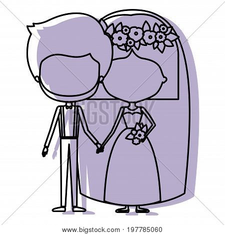 watercolor silhouette with caricature faceless newly married couple groom with formal wear and bride with straight short hairstyle vector illustration