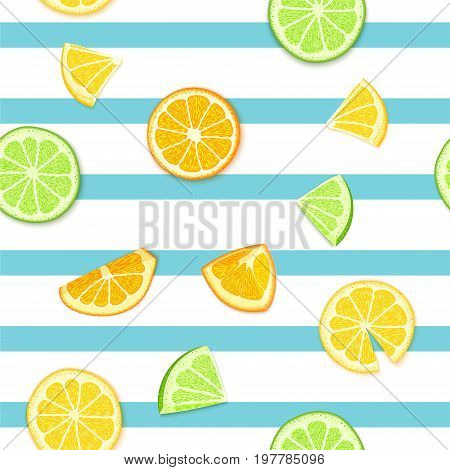Ripe juicy tropical fruit striped seamless background. Vector card illustration. Fresh citrus lime orange lemon fruit on blue lines. Seamless pattern for packaging design healthy food juce detox diet.