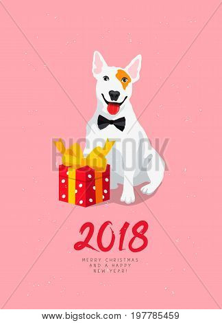 Happy New Year and Merry Christmas! Cheerful dog with a red gift box with a bow. Calligraphy and lettering. Vector holiday card. Symbol of the year 2018. White bull terrier.