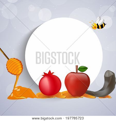 illustration of bee, moon, honey, apple, pomegranate, shofar on the occasion of Jewish New Year Shanah Tovah. Translation: