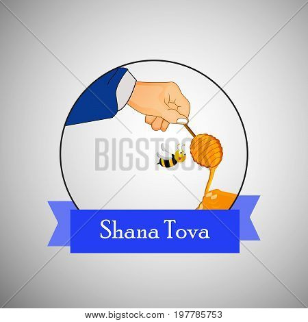 illustration of hand, bee, honey with shana tova text on the occasion of Jewish New Year Shanah Tovah