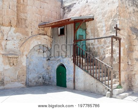 Steps to the extension in the courtyard of the Dome in Ethiopian monastery near the Church of the Holy Sepulchre in the old city of Jerusalem Israel.