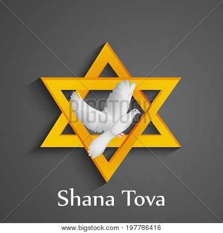 illustration of pigeon on star background with shana tova text on the occasion of Jewish New Year Shanah Tovah translation: