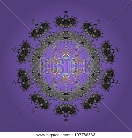 Round vector snowflake. Vector illustration. Abstract winter ornament. Isolated cute snowflakes on colorful background. Fine snowflake.