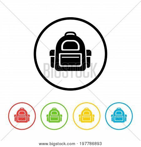 School bag icon set isolated on white background. Happy School Year. Back To School Background. Back to school shopping. Super sale. Vector illustration.